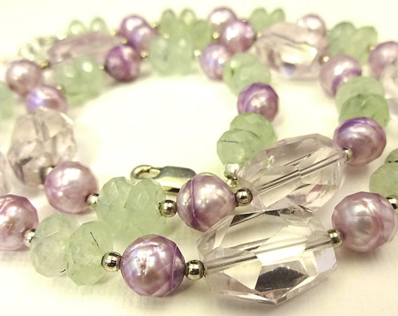 Light Amethyst Nuggets, Prehnite and Lavender Pearl Necklace