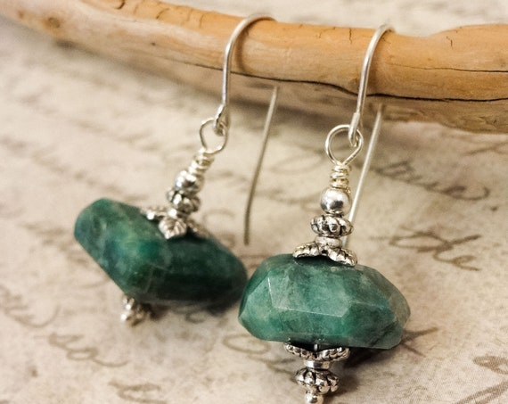 Vesuvianite Earrings, Green Nugget Earrings, Vesuvianite Gemstone Nugget Earrings, Gift for Her