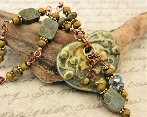 Green and Gold Ceramic Heart Necklace with Brecciated Green Jasper and Czech Firepolish on Dainty Antique Copper Chain