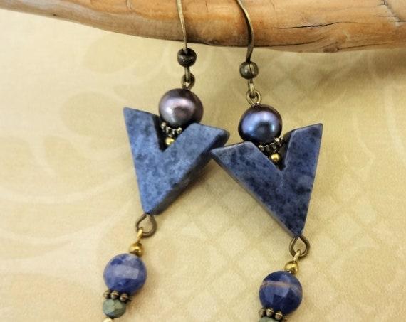 Blue Stone and Peacock Pearl Earrings, Sodalite Chevron Earrings, Everyday Earrings, Handmade Earrings