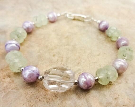 Amethyst, Prehnite and Faceted Lavender Pearl Bracelet
