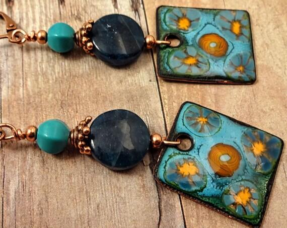 Artisan Enamel, Blue Apatite, Turquoise Earrings, Gemstone and Enamel, Artisan Earrings, OOAK One of a Kind, Blue Earrings, Boho Earrings