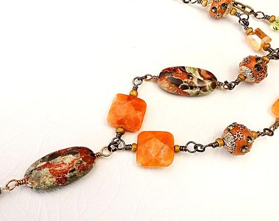 Mushroom Rhyolite Jasper and Orange Calcite Necklace