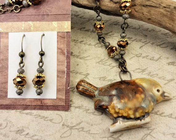 Ceramic Bird and Czech Glass Necklace and Earring Set, Brown and Gray Necklace, Brown Bird Necklace, Gift for Bird Lovers