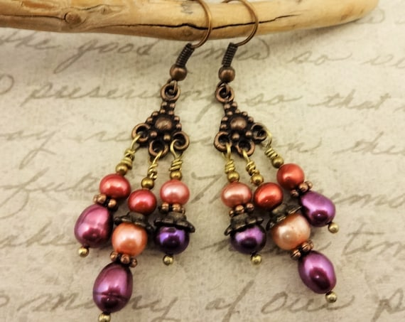 Colorful Chandelier Earrings, Pearl Earrings, Orange Peach and Purple Pearl Earrings, Gift for Her