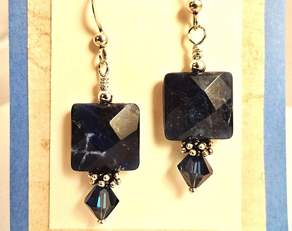 Sodalite Squares, Swarovski and Sterling Silver Earrings
