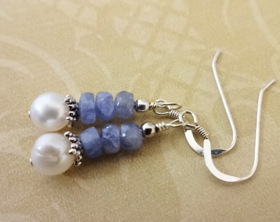 Tanzanite and White Pearl Earrings, Pearls and Gemstone Earrings, White Freshwater Pearl and Tanzanite Earrings, Mothers Day Gift