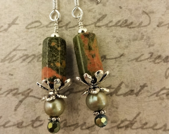Unakite, Pearl and Crystal Earrings, Green Gemstone Earrings, Green and Orange Gemstone Earrings, Gift for Her