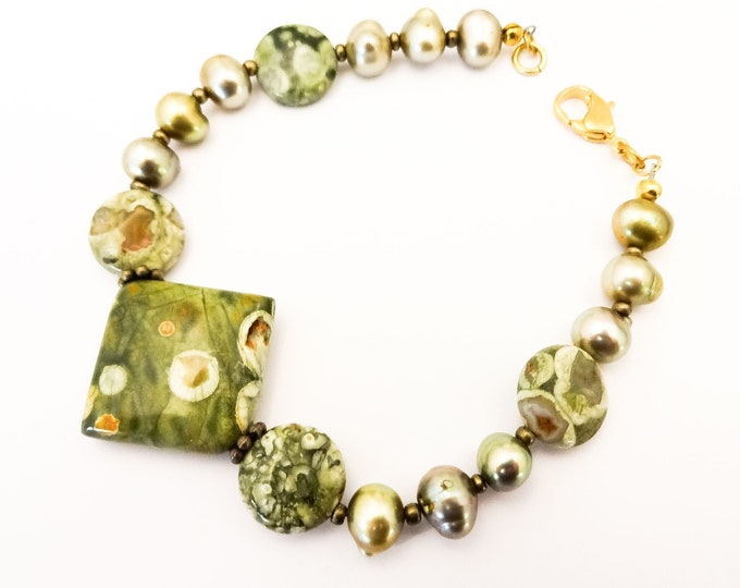 Rainforest Jasper and Green Freshwater Pearl Bracelet, One of a Kind Stone and Pearl Bracelet