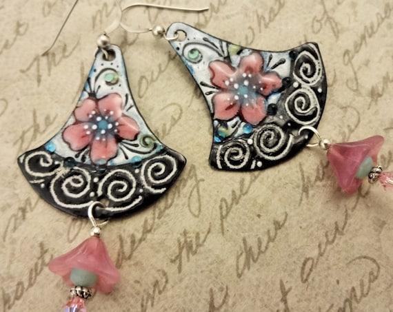 Artisan Enamel Earrings, Enamel and Pink Czech Flower Earrings, Feminine Handmade Earrings, Gift for Her