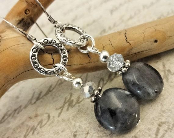 Larvikite Gemstone Earrings, Gray Black Gemstone Earrings, Gray Gemstones and Crystal Earrings, Gift for Wife