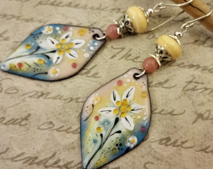 Artisan Enamel Earrings, Creamy Yellow, Pink and Blue-Gray One of a Kind Artisan Earrings, Handmade Earrings, Gift for Her