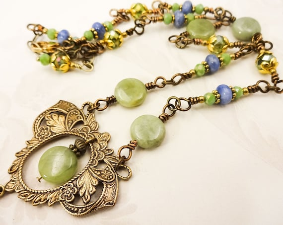 Green Garnet Vintage Style Necklace with Fancy Brass Filigree and Sodalite Gemstones