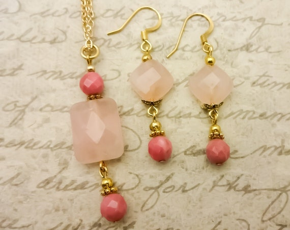 Everyday Necklace and Earring Set, Rose Quartz and Rhodonite Pendant Necklace and Earrings, Gift for Her, Gift for Wife