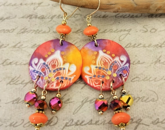 Orange and Purple Ethnic Style Earrings, Light Weight Chandelier Earrings in Vivid Colors, Gift for Her