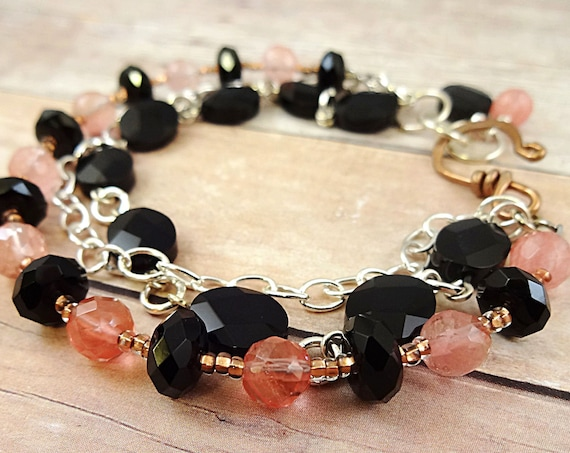 MultiStrand Black Onyx and Cherry Quartz Bracelet