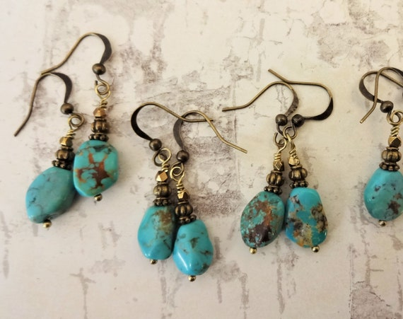 Turquoise and Antique Gold Earrings, Boho Turquoise Earrings, Turquoise Gemstone Nugget Earrings, Gift for Her