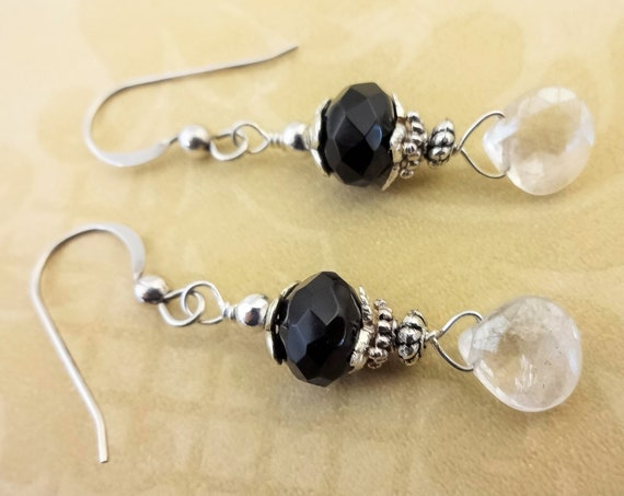 Black Onyx and Quartz Crystal Earrings, Black Onyx, Clear Quartz Crystal and Sterling Silver Earrings, Gift for Wife, Gift for Her