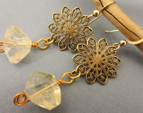 Citrine Nuggets November Birthstone Boho Earrings, Gemstone Earrings, Dangle Earrings, Gift for Her, Gift for Mom