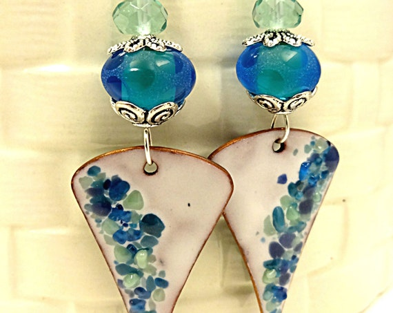 Aqua Blue, Green and White Enamel Earrings with Lamp Glass and Fluorite - One of a Kind Earrings