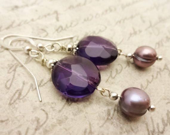 Faceted Amethyst, Lavender Pearls and Sterling Silver Dangle Earrings, February Birthstone