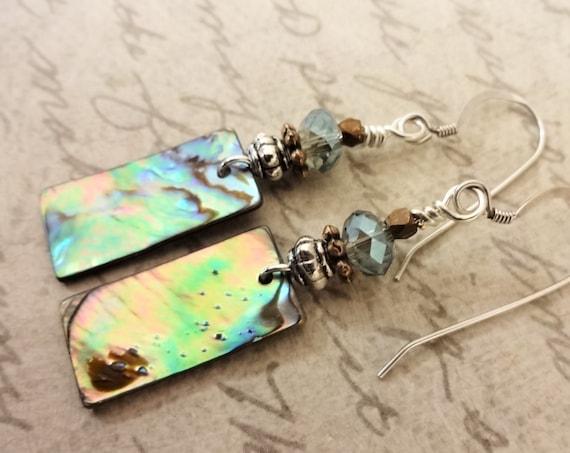 Abalone Earrings, Stone Rectangle Earrings, Mother of Pearl Earrings, Aqua Shell Earrings