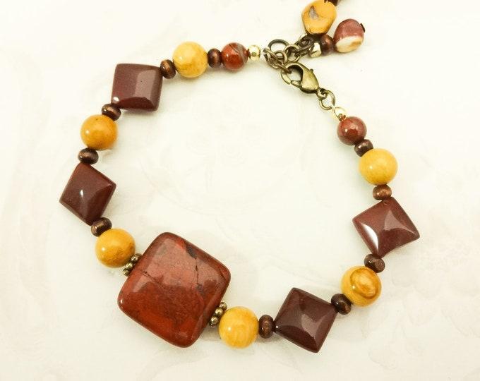 Maroon and Gold Bracelet, Jasper Bracelet, Poppy Jasper Jewelry, Yellow Jasper, Mookaite Jewelry, Boho Style Jewelry, Gemstone Bracelet