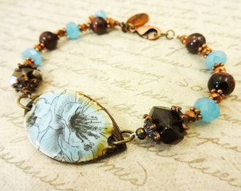 Imagine Blue Ceramic Flower Bracelet with Smoky Quartz, Red Tigers Eye and Blue Czech Glass, Blue and Brown Bracelet