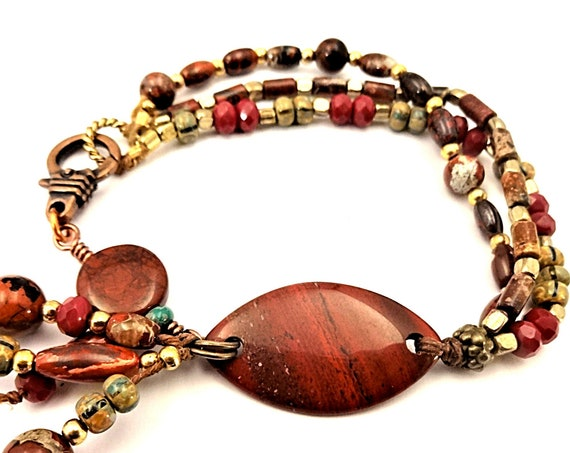 Red Jasper Bracelet Multi Strand Colorful Bracelet Gift for Mom Gypsy Bracelet Boho Style Stone Jewelry Brick Red Bracelet Rustic Style