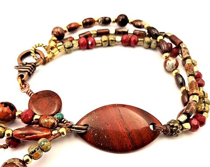 Red Jasper Bracelet Multi Strand Colorful Bracelet Gift for Mom Gypsy Bracelet Boho Style Stone Jewelry Brick Red Bracelet Rustic Style
