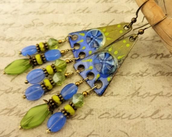Blue and Green Artisan Enamel Earrings, One of a Kind Artisan Earrings, Blue and Green Earrings, Boho Earrings