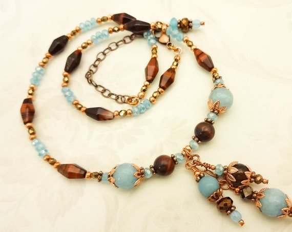Aqua and Brown Boho Gemstone Necklace