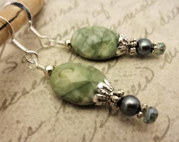 Green Ryolite Gemstone, Pearl and Crystal Earrings, Rainforest Jasper Earrings, Boho Earrings, Gift for Her