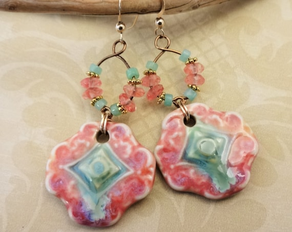 Mint Green and Peach Earrings, Artisan Ceramic Boho Earrings, Long Handmade Earrings, Unique Earrings, Colorful Jewelry