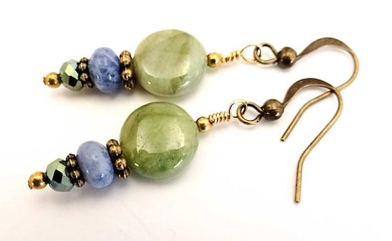 Green Garnet and Sodalite Boho Earrings Green Gemstone Bohemian Mixed Stone Everyday Casual Earrings Sodalite Jewelry