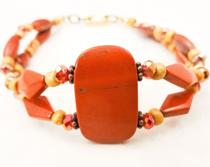 Brick Red and Gold Bracelet, Red Jasper Bracelet, Boho Style Jewelry, Unique Stone Jewelry, Rustic Bracelet, Gift for Her