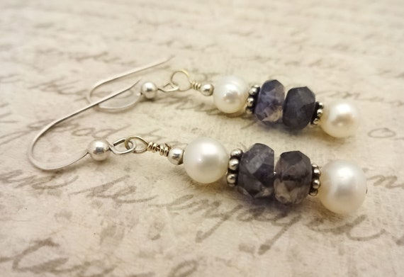 Iolite Gemstone and Freshwater Pearl Earrings with Sterling Silver Ear Wires, Gift for Mom, Gift for Her