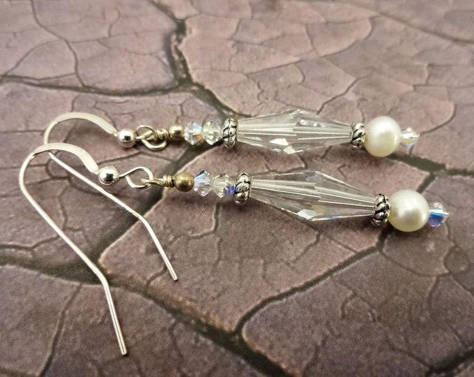 Swarovski Crystal, White Pearl Earrings, Bridal Earrings, Sterling Silver and Crystal Earrings, White Earrings, Crystal and Pearl Earrings