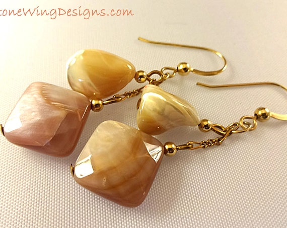 Mother of Pearl Earrings, Natural and Pink Mother of Pearl, Neutral Earrings, Beach Wedding, Gemstone Earrings, 14k Gold Fill