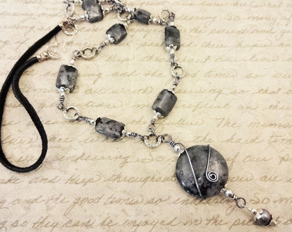 Larvikite Necklace, Black Labradorite, Norwegian Moonstone, Long Black Gemstone Necklace, Gift for Her