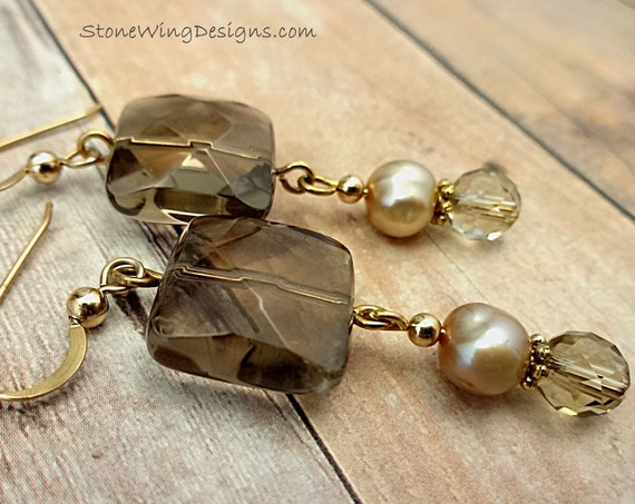 Smokey Quartz Earrings, Gemstone Earrings, Stone and Pearl Earrings, Boho Earrings, Gift for Wife, For Her