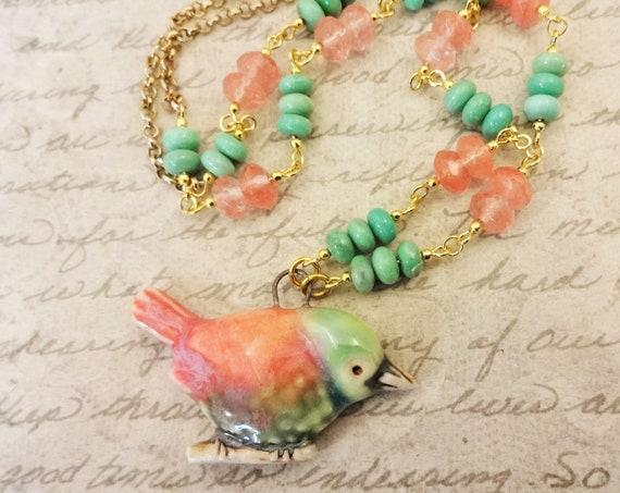 Coral and Mint Necklace, Artisan Ceramic Bird Necklace, Gemstones Chrysoprase and Cherry Quartz Necklace, Feminine Jewelry