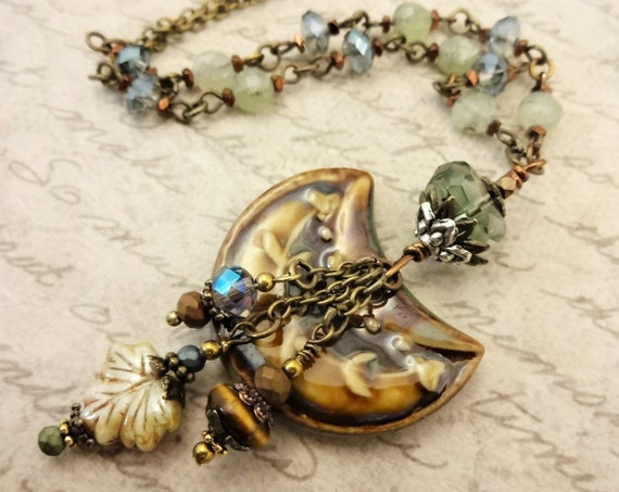 Brown and Tan Ceramic Necklace with Tigers Eye, Prehnite, Fluorite and Czech Glass on Antique Gold Chain, Gift for Her
