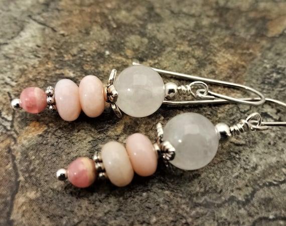 Pink Peruvian Opal, Rose Quartz and Rhodochrosite Earrings, Pink Gemstone Earrings, Feminine Jewelry, Gift For Her
