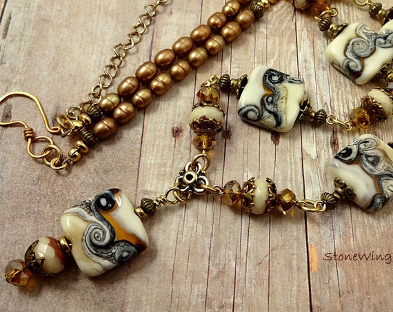 Artisan Lampwork, Pearl, Czech Firepolish and Crystal Y Necklace