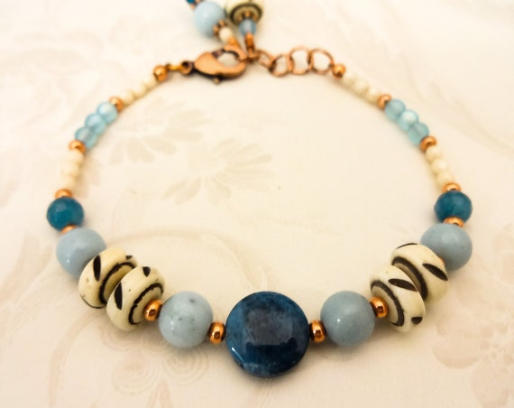 Boho Bracelet, Aqua Blue Bracelet, Gemstone Bracelet, Apatite Bracelet, Amazonite Bracelet, Aqua Gemstone, Copper Bracelet, Rustic Boho