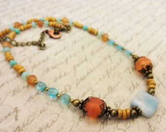 Amazonite, Apatite, Orange Glass, Antique Brass, Casual Everyday Necklace, Boho Style Jewelry, Unique Stone Jewelry, Gift for Her