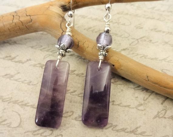 Amethyst Earrings, Sterling Silver, February Birthstone, Gemstone Earrings, Purple Gemstone, Amethyst Jewelry