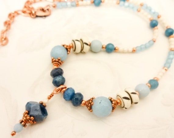 Apatite, Amazonite, Bone, Copper and Czech Firepolish Necklace, Gemstone Necklace in Blue, White and Copper, Gift for Girlfriend