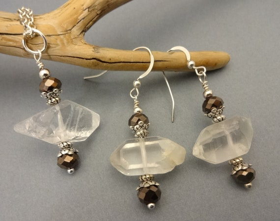 Quartz Crystal Gemstone Necklace and Earrings Set, Wire Wrapped Pendant On Silver Chain With Matching Earrings